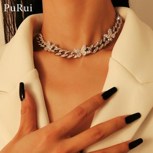 PuRui Shiny Crystal Butterfly Choker Necklace Female Rhinestone Bling Statement Cuban Link Chain Choker for Woman Party Jewelry