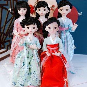 Neue Ankunft 15 bewegliche Gelenke 12 Zoll BJD Puppe 30 cm 1/6 Make-up Dress Up BJD Puppen mit Retro- Kleidung für Mädchen Spielzeug Geschenke Y1230