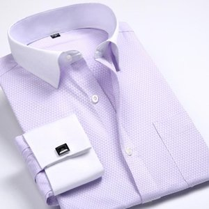 New Autumn Pure Color Pink Yellow Blue Fashion Personality Casual Formal Long Sleeve Men Dress Shirt With French Cufflinks