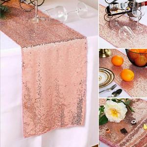 Настольные бегуны Sequin Cover Cover Heat Cat Table для домашней вечеринки свадьба рождественские банкетные украшения золото серебро 30x275см Zyy381
