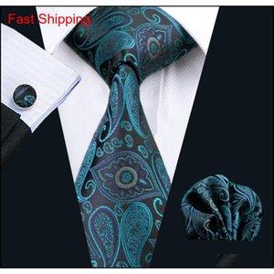 Stilvolle Teal-Geschäfts-Arbeits-Krawatte Paiseely-Muster Hankerchief Manschettenknöpfe Mens Set Jacquard gewebt Classic Qylcgi Homes2007