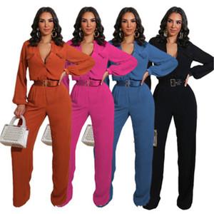 Bayanlar Katı Renk tulum Moda Trend Seksi Hırka Düğme Uzun Kollu Tulumlar Tasarımcı Kadın Sonbahar Yeni Casual Gevşek İnce Jumpsuit