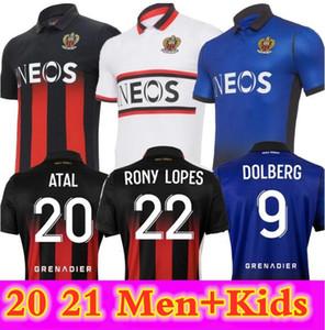 20 21 Maillot de Foot Ogc Nice 축구 유니폼 2020 2021 Atal Dolberg Pierre Lees-Melou Gouiri Ignatius Ganago Wylan Rony Lopes 축구 셔츠