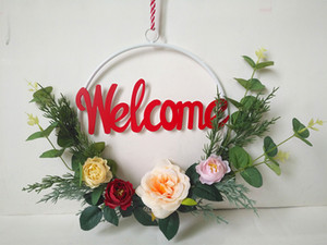 Home decorations, wall pendants, roses, flowers, branches, warm decorations, welcome decorations at the entrance wreath ornament