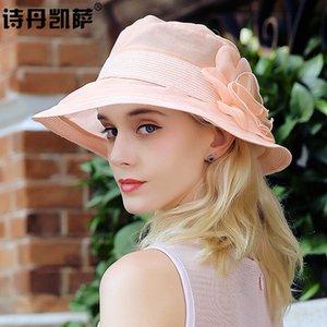 Meninas do verão chapéus de sol Senhora Viagem Wide Screen Brim Sun Cap Sombra Os estudantes Lazer Silk tampa de proteção Folding Hat A114