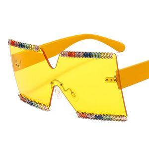 One Luxury 2021 Sunglasses Rimless Rhinestone Female h5hB Shades Gradient Sun Trendy UV400 Oversized Frame Glasses Women Piece Warsg