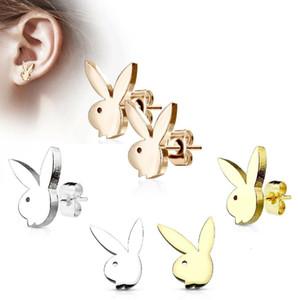 tavşan paslanmaz çelik saplama Küpe-Hare Minik Tavşan Küpe Minimalist Altın Tavşan kulak baş Damızlık küpe gül