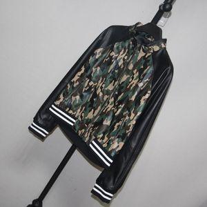 Mulheres Moda Camuflagem Imprimir Genuine Bomber Leather Jacket Jacket Magro pele de carneiro Real Leather Coats senhoras Streetwear