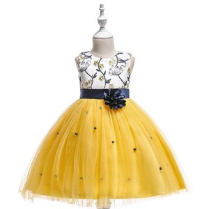 2019 Jewel Neck Tulle Yellow Flower Girl Dresses with 3D Flower Lace Applique Little Girls Party Dresses with Sash Princess Dresses for Kids