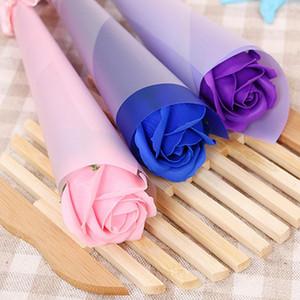 Plastik Çiçek Düğün Hediyesi Çok Renkler Tek Dallı Gül Çiçek Şık Romantik Büyük Plastik Çiçek Ambalaj Kutusu Ile DHF4023