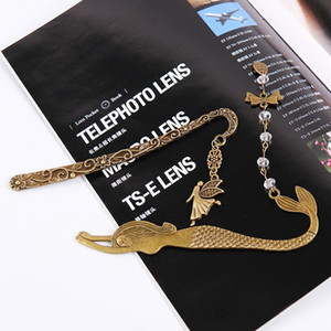 1pc Retro Alloy Metal Bookmark Mermaid Beaded Or Genius Butterfly Fashion Vintage Bookmark 1 jllNDi
