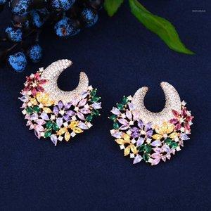 Godki 45mm grande celebridade luxo cor favorita flor flor clustô cúbico zircônia mulheres bridagem brilhing casamento nupcial jóias1
