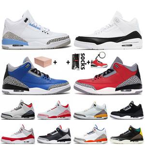 Nike Air Jordan 3 3s Retro 2020 avec la boîte Jumpman Hommes Baksetball Chaussures UNC 3 DNM Fragment Red Cement Varsity Chaussures de sport royal Formateurs