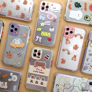 Cute Rabbit Cartoon Bear Animal Phone Cases For iphone 12 11 Pro XR XS Max X 7 8 plus Clear Soft TPU Shockproof Lovely Back Cover