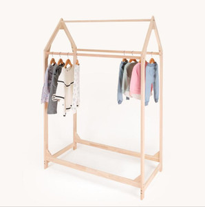 Children's clothing store solid wood Island shelf small house clothes rack double side hanging goods display shelf