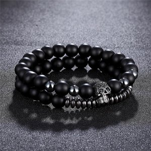 2Pcs set Classic Volcanic stone Pave CZ Skull Charm Bracelet For Men&Women With Hematite Bead Bracelets Jewelry Pulseras hombres