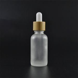 Ätherische Ölglas-Tropfflasche mit Bambus-Deckel-Bambus-Serum-Flasche frostig grün blau Bernstein klar 10ml 15ml 20 30ml 50ml 21 G2