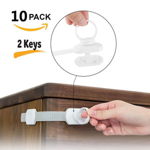 Baby Drawer Safety Lock Child Protection Lock Magnetic Cabinet Door Refrigerator For Kids Security 2 5 10Pcs Lock+1 2 Key Locks 201009