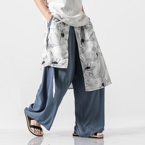 Traditional Chinese Style Plus Size Linen Wide Leg Pants Men Loose Fit Streetwear Mens Fashion Clothing Mans Summer Pants 5XL