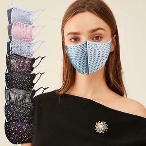 DHL Fashion Dustproof Face Mask Bling Bling Diamond Protective Mask PM2.5 Mouth Masks Washable Reusable Women Colorful Rhinestones Face Mask