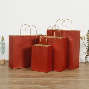 Kraft paper tote food bread baked gift tote bag birthday cake support custom color specifications and logo size28*15*28
