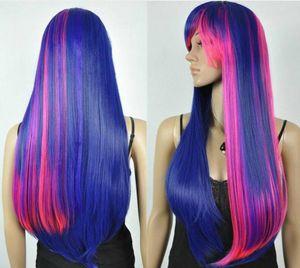 UK моды Harajuku Multi-Color смешайте длинный прямой парик + Бесплатная крышка парик