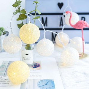 String Lights Cotton Balls LED String Lights Christmas Fairy Lights Navidad Light Chain Garland Lamp Wedding Party Decoration