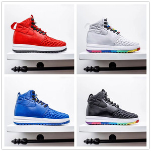 Yeni Varış Ay 1 DuckBoot 17 Gökkuşağı Erkekler Açık Ayakkabı Spor Sneaker LF1 Mavi Kırmızı Siyah Erkek Moda Eğitmenleri