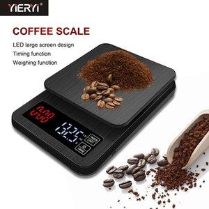 Yieryi 2019 Mini LCD Digital Digital Gotea Cafe Coffee Scale con temporizador 3kg / 5kg / 10kg 0.1g Peso Peso Drip Drip Timer C1016