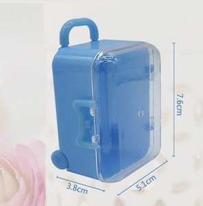 Clear Mini Rolling Travel Suitcase Favor Box Kids Birthday Favor Boxes Party Supplies Gifts Wedding Favors
