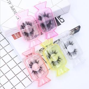 Ein Paar neuer empfohlene transparente süßigkeiten-förmige Boxen Spot neue falsche Wimpern-Verpackungsbox Square Candy Shape Farbe Wimpernkiste