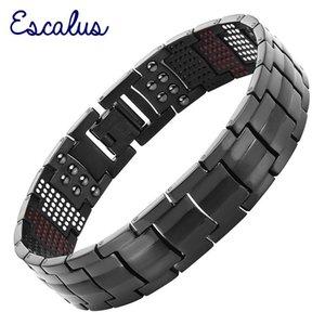 Escalus männer schwarzes reine titanmagnetische armband für männer 4in1 magnete negative ionen germanium gesundheit armbänder schmuck