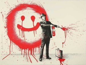 MR. BRAINWASH SPRAY HAPPINESS (RED) Home Decoration Oil Painting On Canvas Wall Art Canvas Pictures For Wall Decor 201026
