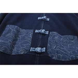 Fashion brand Chinese Tang costume style denim water wash cloth hoodie men and women couple cloth buckle cardigan shark head sweater