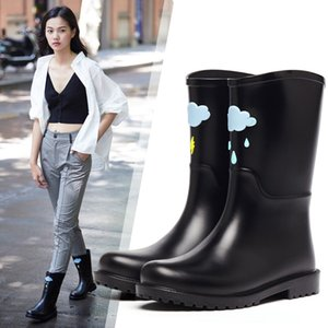 DRIPDROP Cute Rain Boots for Women Waterproof Ladies Mid-Calf Boots Water Shoes with Appliques 201124