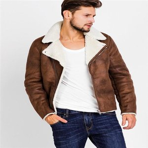 Jackets Fleece Thick Warm Winter Coats Solid Color Lapel Neck Zipper Outerwear Clothes For Men PU Leather Mens