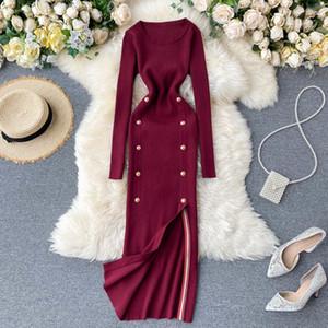 Teeuiear botón delgado de la vendimia ajustado de otoño suéter de punto midi Winter Party el vestido largo de las mujeres elegantes de división atractiva visten túnica 201008
