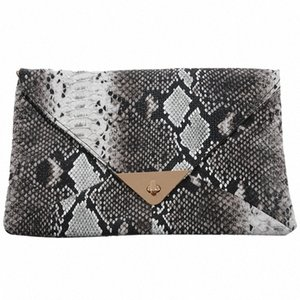 ASDS-Women's Snakeskin Print Accent Envelope Statement Clutch Bag serI#