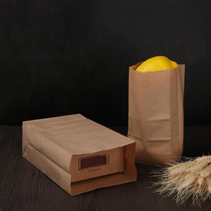 10Pcs Kraft Paper Bags Gift Cookie Pouch Wrapping Bag Treat Buffet Supplies Baking Package Wedding Bread