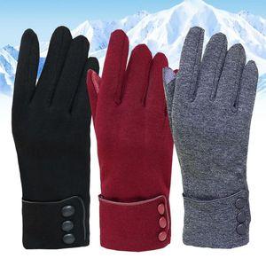 Пять пальцев перчатки дизайн мода зимние женщины кнопка теплый открытый велосипедный термический сенсорный экран полный палец хорошее качество водительская перчатка