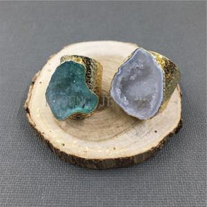 MY1040 Природные Агаты Druzy Geode Кольца Золото Цвет Базовые Кольца для женщин