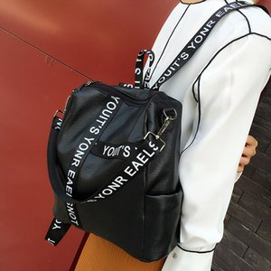 Women Backpack Fashion Preppy Style Letter Strap School Bag for Girls PU Leather Travel Backpack Bolsos Sac A Dos