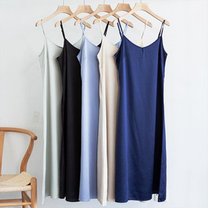 High quality Womens dress Summer spaghetti satin long dress very soft smooth plus size S 4XL M30262