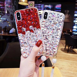 Bling Diamond Rhinestone Soft TPU Case For Iphone 11 Pro Max X XS XR SE 2020 7 Plus 8 6 6S Pendant Glitter Phone Cover Back Fashion