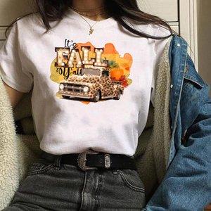 Womens Imprimir Camión leopardo caída de la calabaza de Halloween de Acción de Gracias Camiseta Mujer T de Camisas Mujer camiseta tapas de las mujeres