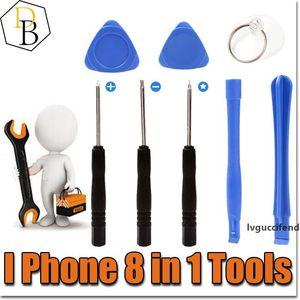 IPhone Reparing Tools 8 in 1 Repair Pry Kit Opening Tools Pentalobe For Iphone 7 plus Torx Slotted screwdriver For Samsung moblie phone