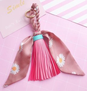 New Hot Sale Scarves Key Chain Bowknot Exquisite Decoration Pu Leather Tassels Keyrings Women Bag Charm Pendant Eh847b H jllHUU