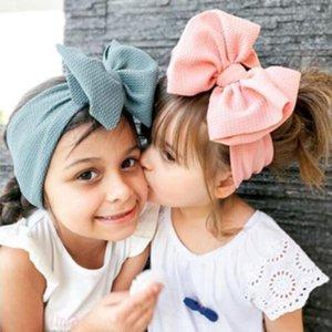 Sevimli Big Yaylar Bebek Baş bandı Turban Katı Renk Bebek Kız Saç Bantları Yumuşak Knot Çocuk Bebek Kafa Saç Aksesuarları