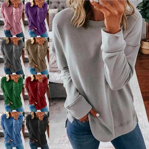 2021 spring and autumn women's casual top round neck loose solid color long sleeve T-shirt