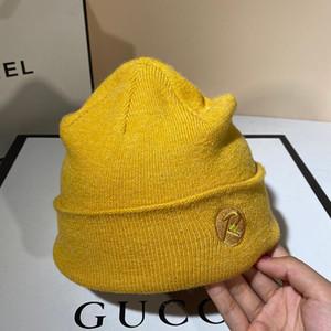Xi mu automne et hiver dôme chapeau de laine tricotée célébrité en ligne broderie femme couleur unie Béret Joker chapeau yuppie